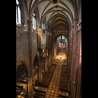 Freiburg, Münster unserer lieben Frau, Seitlicher Blick von der Westempore zur Langschifforgel und ins Hauptschiff