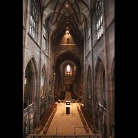 Freiburg, Münster unserer lieben Frau, Blick vom Altar-Baugerüst zur Chororgel, Zentralspieltisch (links) zur Michaelsorgel