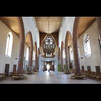 Basel, Predigerkirche (Truhenorgel), Innenraum in Richtung Orgel