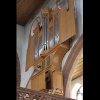Basel, Predigerkirche (Truhenorgel), Schwalbennestorgel seitlich von unten gesehen