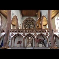 Basel, Predigerkirche (Schwalbennestorgel), Lettner mit Blick zum Chorraum