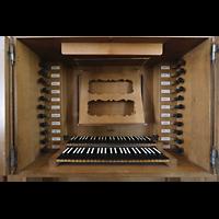 Basel, Predigerkirche (Truhenorgel), Spieltisch der Silbermann-Metzler-Orgel