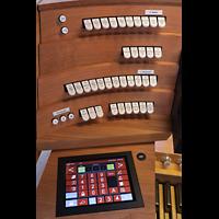 Basel, St. Antonius, Linke Registerstaffel mit ausgezogenem Touchscreen