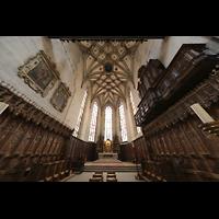 Fribourg (Freiburg), Cathédrale Saint-Nicolas (Hauptorgel), Chorraum mit Chororgel