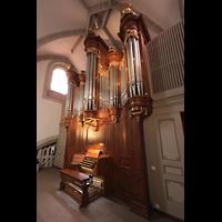 Vevey, Temple Saint-Martin, Orgel mit Spieltisch seitlich