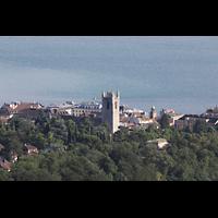 Vevey, Temple Saint-Martin, Blick vom Hotel du Léman (Jogny) auf Vevey und Saint-Martin