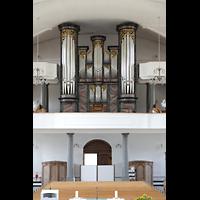 Malters, St. Martin (Chororgel), Orgelempore mit Hauptorgel