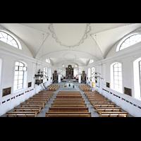 Malters, St. Martin (Chororgel), Blick von der Orgelempore in die Kirche