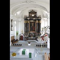 Malters, St. Martin (Chororgel), Altarraum vond er Orgelempore aus gesehen
