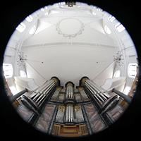 Malters, St. Martin (Chororgel), Gesamter Innenraum mit Orgel
