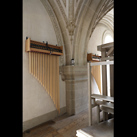 Luzern, Hofkirche St. Leodegar (Große Orgel mit Echowerk), Sennschellen (Röhrenglocken) im Echowerk