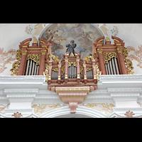 Luzern, Jesuitenkirche St. Franz Xaver (Hauptorgel), Orgel von der Mitte der Kirche aus gesehen