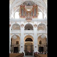 Luzern, Jesuitenkirche St. Franz Xaver (Hauptorgel), Innenraum in Richtung Orgel