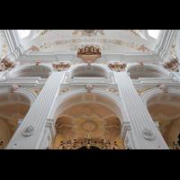 Luzern, Jesuitenkirche St. Franz Xaver (Hauptorgel), Kirchenrückwand mit Orgel perspektivisch