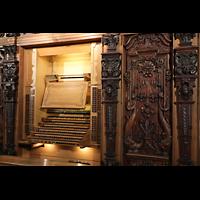 Luzern, Hofkirche St. Leodegar (Große Orgel mit Echowerk), Spieltisch der Hauptorgel seitlich