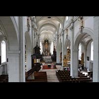 Luzern, Hofkirche St. Leodegar (Große Orgel mit Echowerk), Blick von der Orgelempore in die Kirche