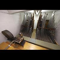Luzern, Hofkirche St. Leodegar (Große Orgel mit Echowerk), Regenmaschine und Pfeifen des Fernwerks