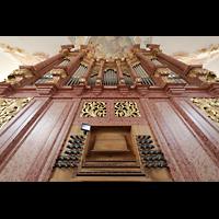 Luzern, Jesuitenkirche St. Franz Xaver (Hauptorgel), Orgel mit Spieltisch perspektivisch