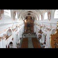 Luzern, Jesuitenkirche St. Franz Xaver (Hauptorgel), Blick über das Rückpositiv in die Kirche