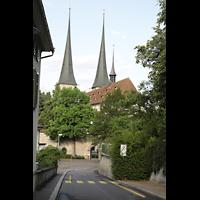 Luzern, Hofkirche St. Leodegar (Große Orgel mit Echowerk), Blick von der Zinggentorstraße auf dem Chor der Hofkirche