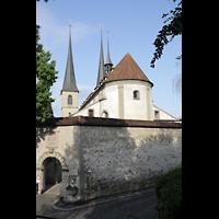Luzern, Hofkirche St. Leodegar (Große Orgel mit Echowerk), Platz hinter der Hofkirche (Chorseite)