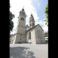 Winterthur, Stadtkirche (Chororgel), Doppeltürme mit Chor, Ansicht von der Oberen Kirchgasse aus