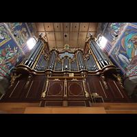 Winterthur, Stadtkirche (Chororgel), Orgel mit Spieltisch im Vordergrund