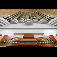 Potsdam, St. Nikolai (Hauptorgel), Spieltisch mit Orgelprospekt