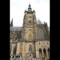 Praha (Prag), Katedrála sv. Víta (St. Veits-Dom), Querhausorgel, 96,60 m hoher Südturm und Querhaus