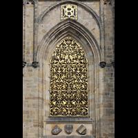 Praha (Prag), Katedrála sv. Víta (St. Veits-Dom), Querhausorgel, Goldenes Gitter am Hauptturm