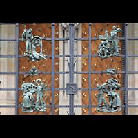 Praha (Prag), Katedrála sv. Víta (St. Veits-Dom), Querhausorgel, Astrologische Figurenschmuck am Gitter vor dem südlichen Querhausportal
