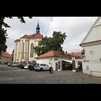 Praha (Prag), Klášter Bazilika Nanebevzetí Panny Marie (Klosterkirche), Hauptorgel, Galerie Miro / sv. Roch auf der Strahovské nádvorí