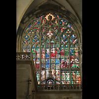 Praha (Prag), Katedrála sv. Víta (St. Veits-Dom), Querhausorgel, Buntes Glasfenser im südlichen Querhaus