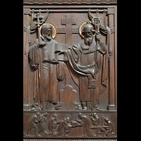 Praha (Prag), Katedrála sv. Víta (St. Veits-Dom), Querhausorgel, Dekoration und Schnitzereien an den nördlichen Portaltüren