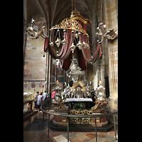 Praha (Prag), Katedrála sv. Víta (St. Veits-Dom), Querhausorgel, Reliquienaltar des heiligen Nepomuk