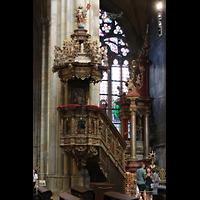 Praha (Prag), Katedrála sv. Víta (St. Veits-Dom), Querhausorgel, Reich verzierte barocke Kanzel