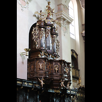 Praha (Prag), Klášter Bazilika Nanebevzetí Panny Marie (Klosterkirche), Hauptorgel, Chororgel seitlich