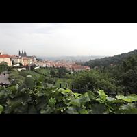 Praha (Prag), Katedrála sv. Víta (St. Veits-Dom), Querhausorgel, Blick vom Kloster Strahov auf die Prager Burg mit Veitsdom und die Stadt