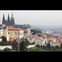 Praha (Prag), Katedrála sv. Víta (St. Veits-Dom), Querhausorgel, Blick vom Kloster Strahov auf die Prager Burg mit Veitsdom und die Moldau