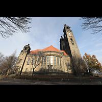 Dresden (Strehlen), Christuskirche, Seitenansicht von Süden 'An der Christuskirche'