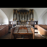 Dresden (Strehlen), Christuskirche, Spieltisch mit Orgel