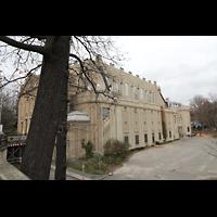 Görlitz, Stadthalle, Außenansicht vom Stadtpark aus (Ostseite)