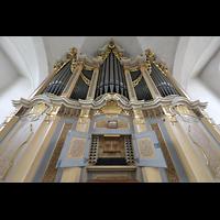 Freiberg (Sachsen), St. Petri (-Nikolai), Silbermann-Orgel mit Spieltisch perspektivisch