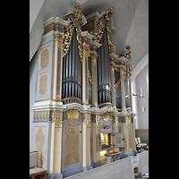 Freiberg (Sachsen), St. Petri (-Nikolai), Silbermann-Orgel mit Spieltisch seitlich
