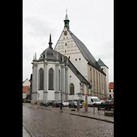 Freiberg, Dom St. Marien (Lettnerorgel), Dom mit Chorraum von Nordosten (Untermarkt) aus