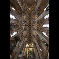 Freiberg, Dom St. Marien (Lettnerorgel), Blick ins Gewölbe und zur großen Silbermann-Orgel