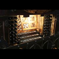 Freiberg, Dom St. Marien (Lettnerorgel), Spieltisch der großen Silbermann-Orgel seitlich