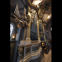 Freiberg, Dom St. Marien (Lettnerorgel), Große Orgel mit Spieltisch seitlich