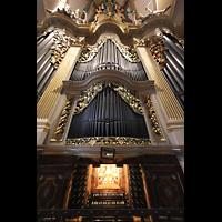 Freiberg, Dom St. Marien (Lettnerorgel), Große Silbermann-Orgel mit Spieltisch perspektivisch
