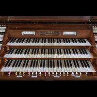 Bautzen, Dom St. Petri (Eule-Orgel im evangelischen Teil), Manuale und Anzeigen am Spieltisch der Eule-Orgel